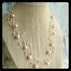 "18"" multi strand faux pearl floating necklace"